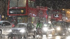 Snow falling in London Bridge on Thursday
