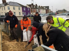 Sandbags being filled at Brush Quay in Gorleston.