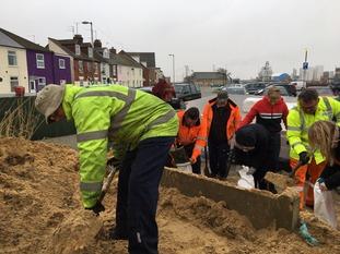 Sandbags being filled at Brush Quay in Gorleston.