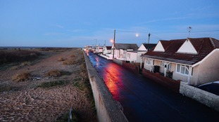 The houses closest to the seawall at Brooklands Road in Jaywick, Essex.
