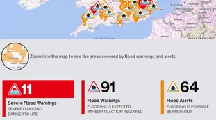 The 11 severe flood warnings carry a danger to life.