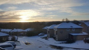 Sunrise over a snow dusted Swindon.