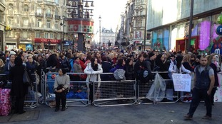 Crowds gather in Leicester square ahead of Twilight movie premiere.