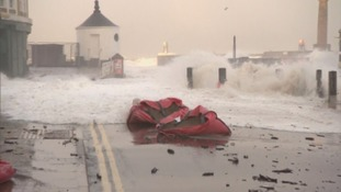 Whitby has seen flooding after high tides in the region