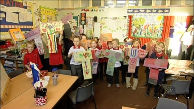 Children in Carlisle made signs to highlight the symptoms of type 1 diabetes in children 