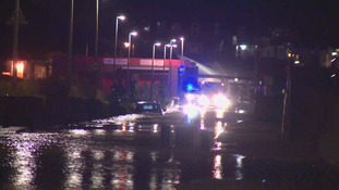 Emergency services attended to a car floating in the street in Hornsea