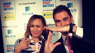 London Tonight reporter Rags Martel shows Olympian Jessica Ennis his moves.
