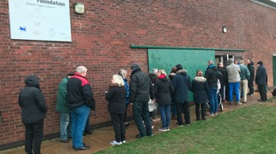 Residents queuing outside the emergency incident room in Withernsea