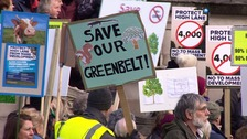 Protesters rally against green belt plans