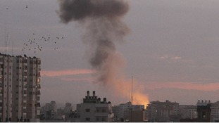 Smoke rises following Israeli air strikes in Gaza City