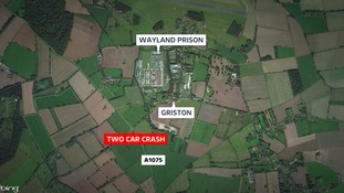 The road has been closed at Griston after a serious crash