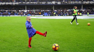 Bradley Lowery on the pitch before the Premier League match at Goodison Park, Liverpool.