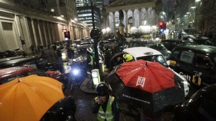 Cabs brought the Bank junction to a standstill on January 12.