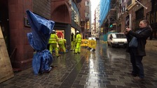 Under cover: the statue on Mathew Street