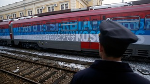 Serbia train slogan fuels political row with Kosovo