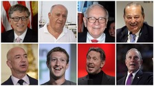 Collage of world's top eight billionaires