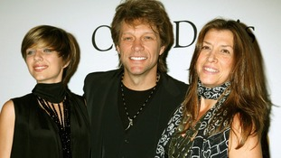 Singer John Bon Jovi, daughter Stephanie Rose Bon Jobi and wife Dorothea Rose Hurley at the Grammys in 2010