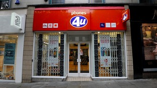 General view of a Phones 4u shop in Nottingham.
