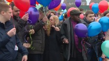 Balloons were released to mark what would have been Katie's eighth birthday