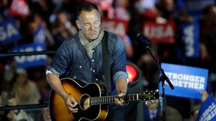 Bruce Springsteen performing during Hillary Clinton's campaign