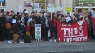 Campaigners protesting proposed changes to library services in Bath.