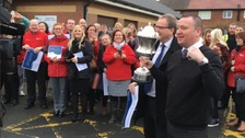 Darts world champion Glen Durrant received a hero's welcome when he went back to work