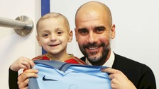 Bradley Lowery with Manchester City manager Pep Guardiola