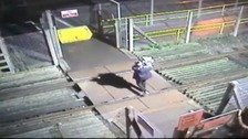 Couple carry toddler across North Yorkshire railway