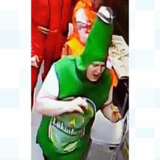 A man dressed as a beer bottle is being sought by police