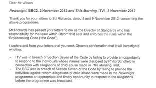Part of Ofcom's letter in response to MP Rob Wilson