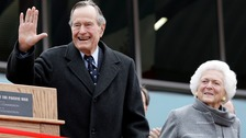 Former President George Bush Snr and wife Barbara in hospital