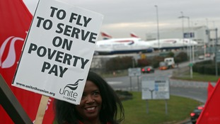 British Airways cabin crew begin three-day Heathrow strike over 'poverty pay'
