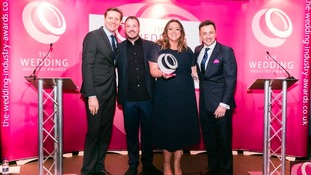 Sian being awarded her trophy by Damian Bailey, founder of The Wedding Industry Awards and Olympian Roger Black MBE at Café de Paris, London.