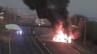 Lorry fire on the M25.