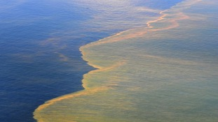 Oil is seen on the surface of the Gulf of Mexico in an aerial view of the Deepwater Horizon oil spill of
