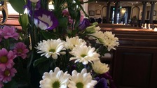 Purple flowers adorn Derby Cathedral
