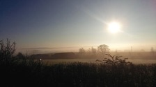 Sunshine at Last! A misty Mansfield Woodhouse Friday morning