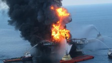 Fire boat response crews battle the blazing remnants of the offshore oil rig Deepwater Horizon in 2010