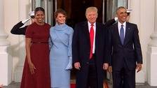 The outgoing and next presidents and first ladies of the United States took tea at the White House.