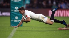 George Ford diving over for England against South Africa