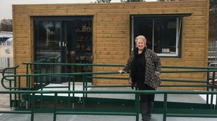 Christine Grahame MSP in front of Tweedbank station's new snackbar
