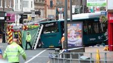 The scene of the bus crash in Darlington where a pensioner was killed