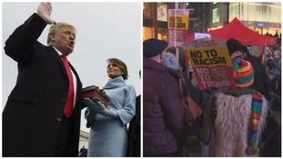 Hundreds protest as Trump is sworn in as US president