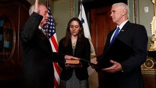 James Mattis being sworn in.