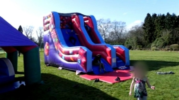 The bouncy castle stolen in the raid weighs nearly 200kg