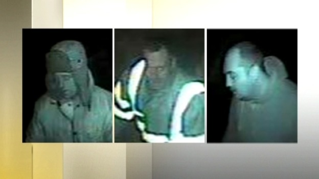 These stills show three men who were involved in the raid on the bouncy castle business in Rowley Regis