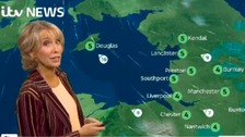 Emma Jesson in front of NW weather graphic