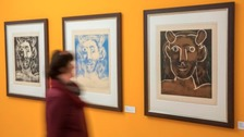 Woman looks at oeuvre from Picasso in Apolda, Germany