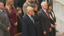 Donald and Melania Trump stand with Mike and Karen Pence