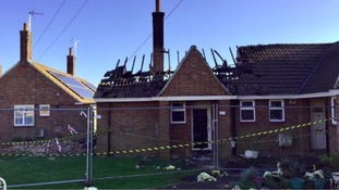 The destroyed bungalow at Back Lane in Eye.